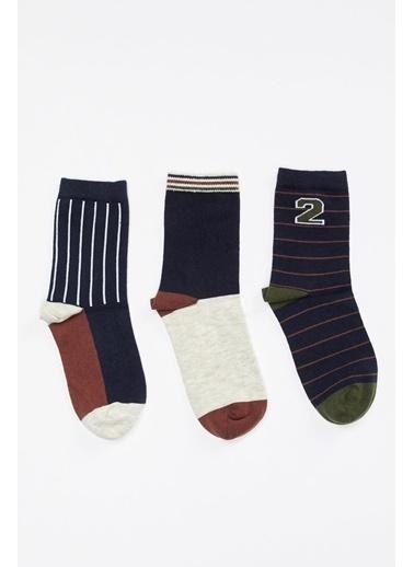 Defacto –Fit 3'lü Uzun Çorap Lacivert